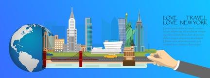 New York infographic, global avec des points de repère de l'Amérique, plats Images libres de droits