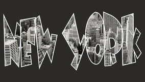 New York inside text on black background. New York builgings inside text on black background Stock Photography