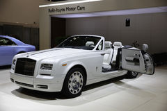Rolls-Royce showcased at the New York Auto Show. The New York International Auto Show is an annual auto show held in New York City in late March or early April stock photography