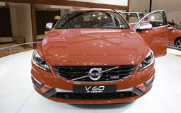 Volvo V60 showcased at the New York Auto Show. The New York International Auto Show is an annual auto show held in New York City in late March or early April. It Royalty Free Stock Photo