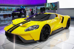 New York International Auto Show 2016, USA. NEW YORK - March 23: A Ford GT from exhibit at the 2016 New York International Auto Show during Press day,  public Royalty Free Stock Image