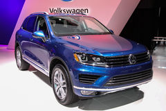 New York International Auto Show 2016, USA. NEW YORK - MARCH 23: A Volkswagen Touareg at the 2016 New York International Auto Show during Press day,  public show Royalty Free Stock Photography