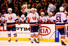 New York Islanders bench. New York Islanders rest during a time-out in Boston stock images