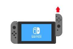 New York - 13 januari Nintendo-schakelaarillustratie Het schermconsole geïsoleerde vector van de videospelletjeaanraking Stock Foto's