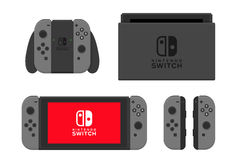 New York - 13 januari: Nintendo-schakelaarillustratie Videospelletjeconsole geïsoleerde vector Stock Afbeelding