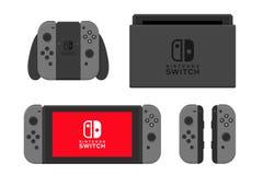 New York - 13 JANUARI: Nintendo strömbrytareillustration Isolerad vektor för videospel konsol Fotografering för Bildbyråer