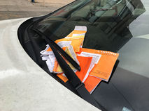 NEW YORK - JANUARY 19, 2017: Parking Violation tickets for Illegal Parking Violation Citation On Car Windshield in New York Royalty Free Stock Image