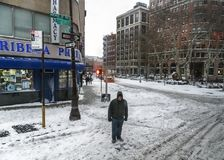 Snow in Tribeca. NEW YORK-JANUARY 4: A snowy intersection in Tribeca after the bomb cyclone snow storm on January 4 2018 in lower Manhattan Royalty Free Stock Image
