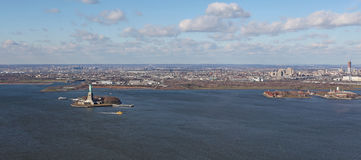 New York and Jersey from above, USA. View to New York and Jersey from helicopter, USA. December 2015 royalty free stock images