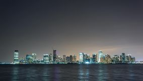 New York Jersey view at night Timelapse Bank. 4k stock video footage