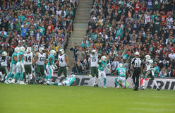 New York Jets-internationales Reihenspiel gegen die Miami Dolphins am Wembley Stadium Stockfotos