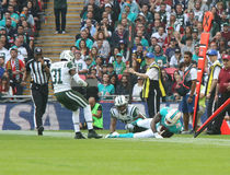 New York Jets-internationales Reihenspiel gegen die Miami Dolphins am Wembley Stadium Lizenzfreie Stockfotos