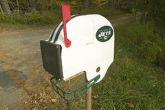 New York Jets NFL football helmet mailbox in Massachusetts, New England countryside Stock Images