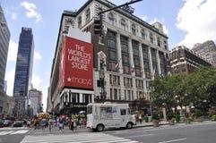 New York, am 2. Juli: Macy-` s Speicher von Herald Square in Midtown Manhattan von New York City in Vereinigten Staaten Stockbilder