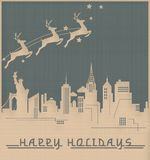 New York julkort Art Deco Skyline Vintage royaltyfri illustrationer