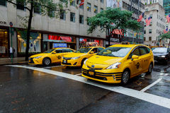 NEW YORK - JULY 2017: The New York City Taxi in New York City. Taxicabs with their distinctive yellow paint, are a widely recogniz Stock Images