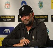 Liverpool FC manager Jurgen Klopp during press conference after 2019 Western Union Cup game against Sporting CP at Yankees stadium