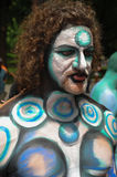 NEW YORK - JULY 26: Nude models, artists take to New York City streets during first official Body Painting Event Stock Photos