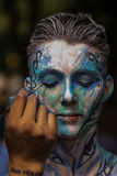 NEW YORK - JULY 26: Nude models, artists take to New York City streets during first official Body Painting Event Stock Photography