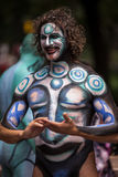 NEW YORK - JULY 26: Nude models, artists take to New York City streets during first official Body Painting Event Royalty Free Stock Images
