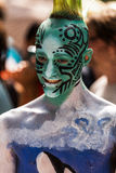 NEW YORK - JULY 26: Nude models, artists take to New York City streets during first official Body Painting Event. Featuring artist Andy Golub on July 26, 2014 Stock Photography