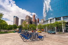 NEW YORK - JUN 14: New blue Citi Bikes lined up in Downtown Manh Stock Photo