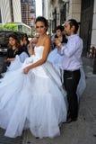 NEW YORK - June 13: Model Kalyn Hemphill and stylists crew Royalty Free Stock Photo