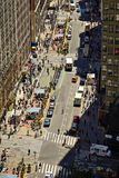 NEW YORK - JUNE 14, 2016: View down a busy street in  ,  ,  in Manhattan,   City, USA Royalty Free Stock Photography