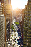 NEW YORK - JUNE 14, 2016: View down a busy street in  ,  ,  in Manhattan,   City, USA Royalty Free Stock Photos