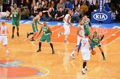 New York Knicks εναντίον των Boston Celtics Στοκ Φωτογραφία