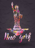 New york label with hand drawn the Statue of Liberty , lettering New york with watercolor fill. Vector illustration, New york label with hand drawn the Statue of Royalty Free Stock Photo