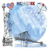 New York landmark.Watercolor splash,rein,umbrella  Stock Photo