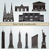 New York landmarks and monuments. On blue background in editable vector file Royalty Free Stock Photos