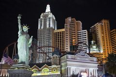New York in Las Vegas. LAS VEGAS, NEVADA - OCTOBER 6:  The statue of Liberty and other faux New York landmarks entertain tourists on a warm desert night, on Stock Photo