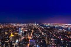 New York late sunset skyline stock photo