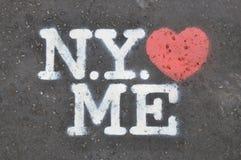 New York liebt mich Schablone Stockbild