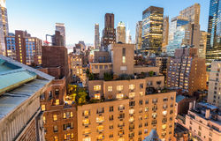 New York lights on a beautiful evening. Manhattan from rooftop Stock Photography
