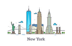 New york line vector symbol, nyc silhouette outline panorama, america skyline vector illustration. New york city architecture tower building Stock Photography