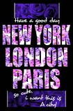 New York London Paris typography, t-shirt graphics design for girls Stock Images