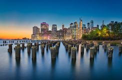 New York & Long Exposure. Long exposure photo at the Brooklyn Bridge Park in New York City stock photo