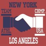 New york - los angeles. Typography, t-shirt graphics, vectors Stock Photo