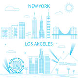 New York and Los Angeles skyline illustration in Stock Photo