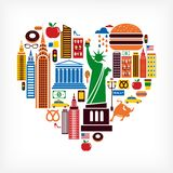 New York love - heart shape with many vector icons. New York love - heart shape with set of vector icons Royalty Free Stock Image