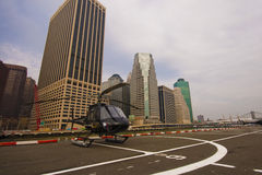New York, Lower Manhattan - Helicopter standing by for take off Stock Photos