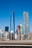 New York, Lower Manhattan and the One World Trade Center. New York: Lower Manhattan and the One World Trade Center (Freedom Tower) as seen from Brooklyn Bridge stock images