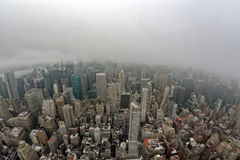 New york manhattan aerial view on foggy day Stock Photos