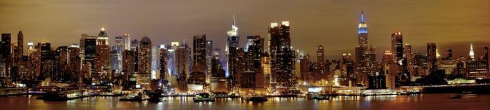 New York Manhattan alla notte Fotografia Stock Libera da Diritti