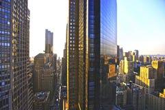 New York Manhattan bij zonsondergang Royalty-vrije Stock Foto's