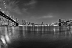 New York manhattan bridge night view from brooklyn in b&w Stock Photos