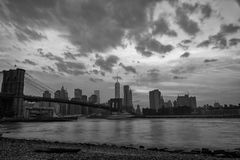 New York manhattan bridge night view from brooklyn in b&w Royalty Free Stock Images